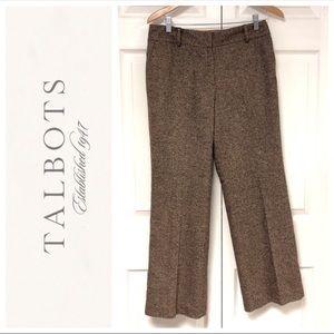 Talbots Wool Silk Blend Brown Tweed Trousers